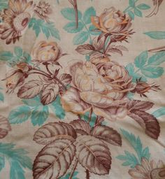 Antique French Roses Sunflower Floral Toile Cotton Fabric ~Aqua Brown Yellow