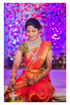 South Indian bride. Diamond Indian bridal jewelry.Temple jewelry. Jhumkis.Red silk kanchipuram sari.Braid with fresh jasmine flowers. Tamil bride. Telugu bride. Kannada bride. Hindu bride. Malayalee bride.Kerala bride.South Indian wedding. Pinterest: @deepa8