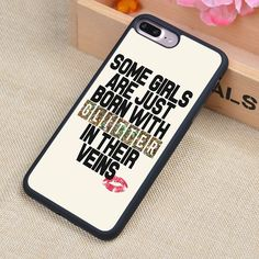 Girls Born With Glitter Veins Soft Rubber Mobile Phone Cases Accessories For iPhone 6 6S Plus 7 7 Plus 5 5S 5C SE 4 4S Cover