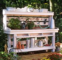 DIY instructions to build master gardener's potting table.