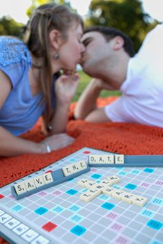 engagement session. scrabble save the date