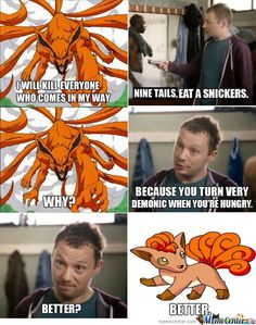 Ignoring the flaw of Vulpix/Ninetails, it's still a semi-win. Naruto and Pokemon.