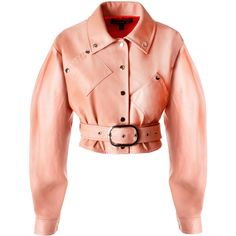 Pink Leather Cropped Jacket | Moda Operandi (29.301.065 VND) ❤ liked on Polyvore featuring outerwear, jackets, high-waisted skater skirts, red skirts, red high waisted skirt, high waist skirt and flared skirt
