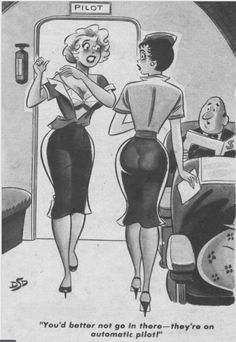 DAN DeCARLO - You'd better not go in there - they're on automatic pilot! - item by atomicpunk tumblr Pin Ups Vintage, Vintage Cartoon, Vintage Comics, Adult Cartoons, Sexy Cartoons, Playboy Cartoons, Archie Comics, Fun Comics, Girl Cartoon