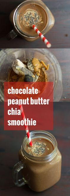 Chocolate Peanut Butter Chia Smoothie