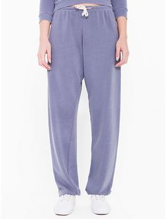 French Terry sweatpants with a soft, worn-in feel, elastic/drawstring waist, elastic ankles and single back pocket.