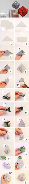 Origami Diamant Faltanleitung   DIY & crafts   Tutorial   waseigenes.com