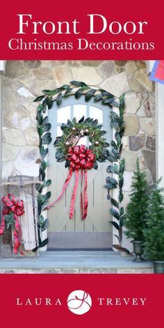 Beautiful Christmas front door decor with magnolia leaf garland and wreath with red bow and gold ornaments. Click through to view the inside home tour for more holiday decorating ideas. Front Door Christmas Decorations, Christmas Front Doors, Christmas Wreaths, Winter Decorations, Christmas Home, Christmas Holidays, White Christmas, Xmas, Magnolia Leaf Garland