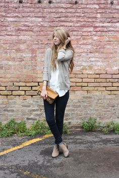 obsessed with this look! booties, skinny cuffed denim, layered cardi, lil leopard