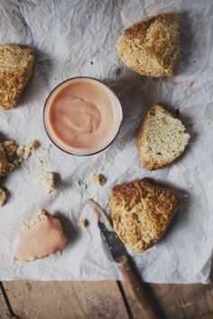 cream scones with rhubarb curd.
