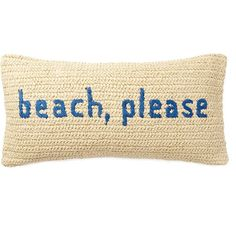Nordstrom Rack Raffia Sentiment Pillow - 12x24 ($30) ❤ liked on Polyvore featuring home, home decor, throw pillows, throw pillow, blue moonlight beach please, nordstrom rack, beach home accessories, beach home decor, blue home decor and blue accent pillows