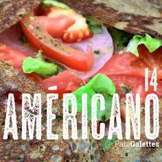 14 - Américano Jambon - emmental - tomate - salade - oignon rouge - pesto