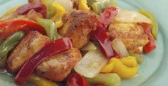 Stir-Fried Spicy Chicken Tenders A bag of frozen peppers and onions can be a quick start to a stir-fry. Here, its combined with low-fat chicken tenders for a speedy dinner.  Get the Recipe: Stir-Fried Spicy Chicken Tenders