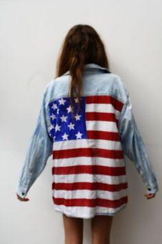 Vintage Reworked Oversized American Flag Denim Shirt