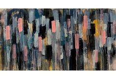 Caroline Wright, Crepuscule with Nellie, print, navy and pink abstract