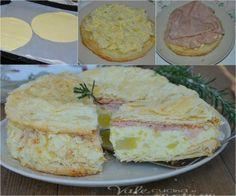 Millefoglie salata con patate e mortadella