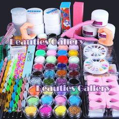 Acrylic powder gel brush file false tips sable acrylic brushes nail art set kit