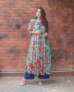 """Festive Mode On in georgette anrkali Casual Indian Fashion, Indian Fashion Dresses, Dress Indian Style, Indian Designer Outfits, Indian Wear, Printed Kurti Designs, Simple Kurti Designs, Kurta Designs Women, Stylish Dresses"