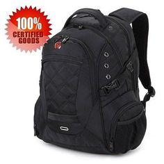 New Unisex Swissgear Backpack 14-16 Laptop Bag Travel Hiking Backpack Black Nylo