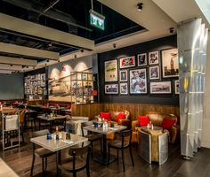 Pilots Bar & Kitchen by o1creative at Heathrow Terminal 5, London - UK. Visit City Lighting Products! https://www.linkedin.com/company/city-lighting-products