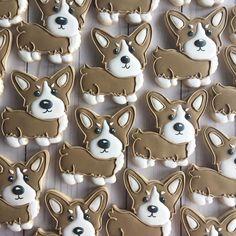 The cutest corgi cookies I've ever seen! Cookies For Kids, Fancy Cookies, Iced Cookies, Cute Cookies, Cupcake Cookies, Sugar Cookies, Cupcake Day, Animal Cupcakes, Dog Cakes