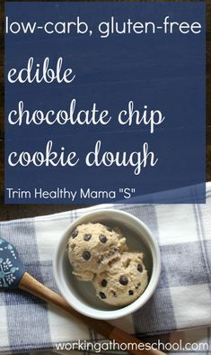 """This edible low-carb cookie dough is SO GOOD! This recipe is gluten-free, and it works as an """"S"""" for Trim Healthy Mama This edible low-carb cookie dough is SO GOOD! This recipe is gluten-free, and it works as an S for Trim Healthy Mama Raw Cookie Dough, Cookie Dough Recipes, Edible Cookie Dough, Chocolate Chip Cookie Dough, Trim Healthy Mama Diet, Thm Recipes, Copycat Recipes, Free Recipes, Healthy Recipes"""