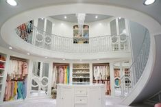 Walk In Closet with Spiral Staircase, Contemporary, Closet circle moulding mirrored closet doors… Mansion Interior, Dream House Interior, Luxury Homes Dream Houses, Dream Home Design, House Design, Walk In Wardrobe, Walk In Closet, 2 Story Closet, Closet Doors