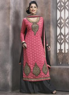 Dazzling Pink And Black Georgette Designer Work Churidar Suit