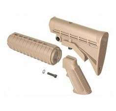AR-15 M4 QD Enhanced Buttstock, Handguard and A2 Grip Furniture Kit--Coyote Tan