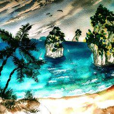 Paradise  #paradise #paradise #thailand #ไทย #รกไทย #krabithailand #krabi #beach #sea #watercolor #watercolorpainting #instaart #artwork Krabi Thailand, Insta Art, Watercolor Paintings, Paradise, Sea, Artwork, Work Of Art, Water Colors