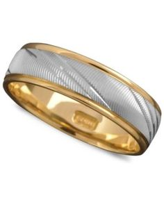 Men's 14k Gold and 14k White Gold Ring, Flash Band (Size 6-13)