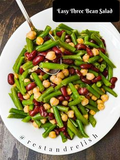 Easy Three Bean Salad is a light and healthy side dish for your Fourth of July party! #fourthofjulyfood #fourthofjulyrecipe