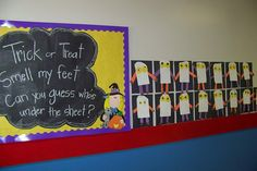 Doodle Bugs Teaching {first grade rocks!}: Trick or Treat Smell My Feet Bulletin Board Doodle Bugs Teaching {first grade rocks!}: Trick or Treat Smell My Feet Bulletin Board October Bulletin Boards, Halloween Bulletin Boards, Classroom Bulletin Boards, Classroom Crafts, Classroom Fun, Classroom Activities, Classroom Displays, Classroom Organization, Library Displays
