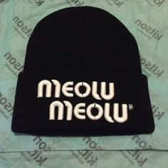 New Hat from Kitson Black beanie hat with white writing Brian lichtenberg  Accessories Hats