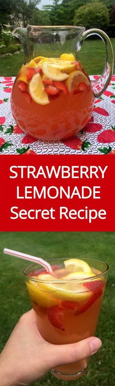 Homemade Strawberry Lemonade Recipe With Freshly Squeezed Lemons And Strawberry Slices | MelanieCooks.com
