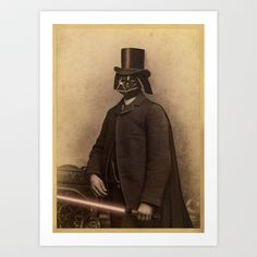 Lord Vader Art Print by Terry Fan - I think I might get the whole series. Vintage Art Prints, Fine Art Prints, Framed Prints Online, Terry Fan, Unusual Presents, Star Wars Fan Art, Art Pictures, Unique Art, Victorian