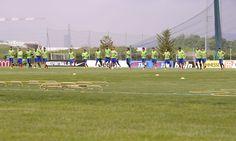 Le foto della rifinitura dei bianconeri alla vigilia della sfida Champions contro la squadra di Ancelotti