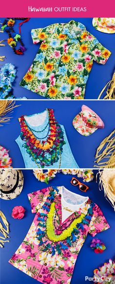 Be the best dressed at your Polynesian party! You'll be luau-ready with a tropical button-up Hawaiian shirt, layers of leis, and a sweet pair of shades!