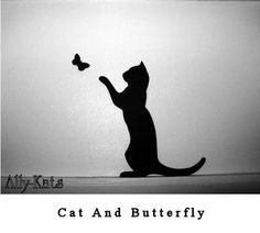Your bidding for the above Cat and Butterfly Silhouette Figures, hand made and hand painted in a tough deep mat black finished paint. Description from ebay.co.uk. I searched for this on bing.com/images