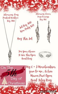 On the 5th Day Of Christmas my C + I Merchandiser gave to me, a chance go WIN a FREE Maven Pavé Open Band Talon Ring when you purchase this Hot Holiday Set from our Silverwing Collection. Regularly $90 for the set, Now Only $79 during our Great Gifts Sale. Giveaway ends at Midnight Tonight!! Shop now at:www.chloeandisabel.com/boutique/thecelticpearl   #12DaysOfChristmas #Holiday #Christmas #Deals #Gifts #giveaway #Prizes #jewelry #fashion #accessories #style #shopping #thecelticpearl