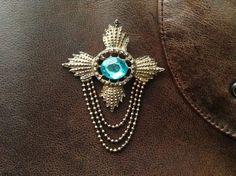 Vintage cross brooch with light blue by VintageItalyWardrobe
