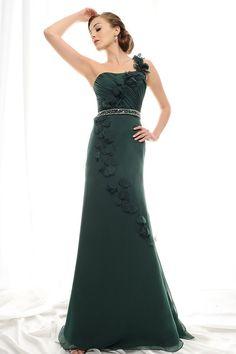 One Shoulder Petal Trimmed Beaded Green Evening Dress