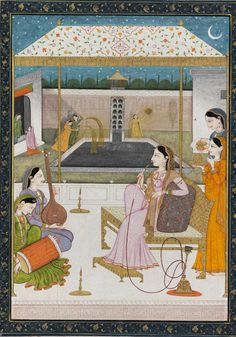 Night scene - lady smoking a hookah in a palace courtyard entertained by musicians; in the background, girls hold pich karis  Maker: Unknown; miniaturist  Category: miniature (painting)  School/Style: Kangr