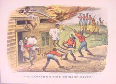 """""""The Darktown Fire Brigade-Saved!"""" Drawn by Thomas Worth. [Currier & Ives, 1884]."""