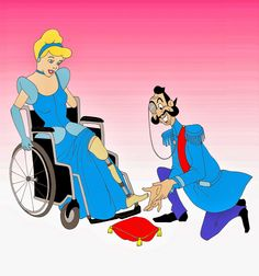 """Disabled Disney Princesses ~ Cinderella with prothestic leg       Alexsandro Palombo's latest piece portrays the Disney beauties as disabled women. """"I wanted to give visibility to a problem that affects a great amount of people in the world,"""" Palombo, 40, told the Daily News."""