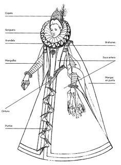 Elizabethan Fashion, Tudor Fashion, Elizabethan Era, Historical Costume, Historical Clothing, Mode Renaissance, Italian Renaissance, Egyptian Drawings, 16th Century Fashion