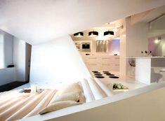 Futuristic Interior Design of Modern Apartment Ideas . Small Apartment Interior, Small Apartment Design, Small Room Design, Apartment Ideas, Black Interior Design, Modern Interior, Futuristisches Design, House Design, Design Ideas