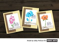 Watercolor stamped cards with burlap on the Hero Arts blog by Libby Hickson.