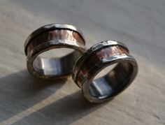 rustic wedding rings  fine silver and copper   by MaggiDesigns, $510.00