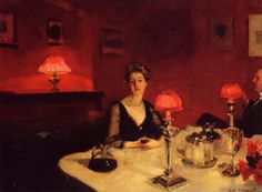 A Dinner Table at Night - John Singer Sargent